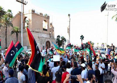 إئتلاف المنصة الليبية يطالبوا السلطات الوطنية والمجتمع الدولي بحماية المتظاهرين وحرية التعبير في ليبيا بشكل عاجل